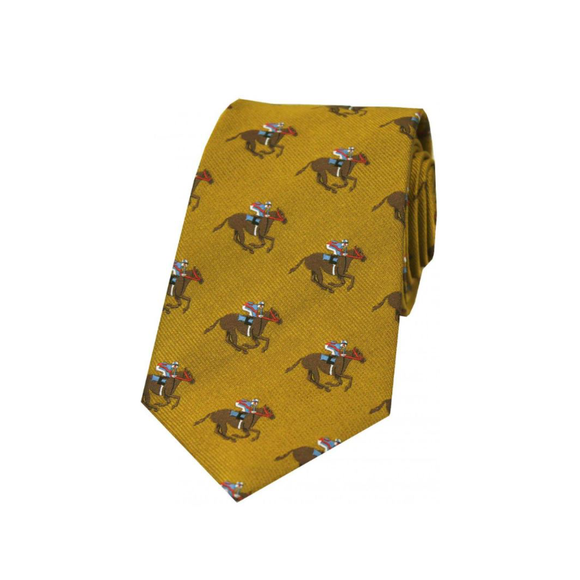 Soprano Luxury Gold Horse Racing Woven Silk Tie