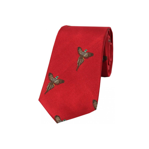 Soprano Flying Pheasants On Red Ground Country Silk Tie