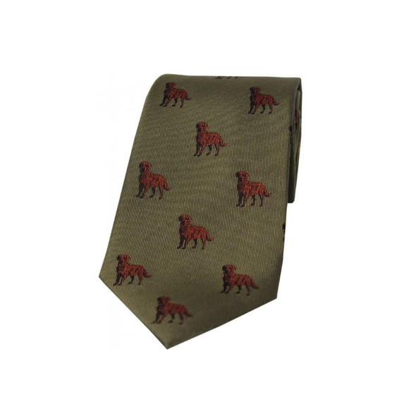 Soprano Chocolate Labs On Green Ground Country Silk Tie