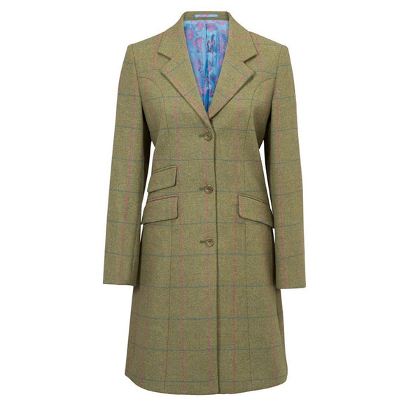 Alan Paine Combrook Ladies Tweed Mid Length Coat (Classic Fit) in Juniper