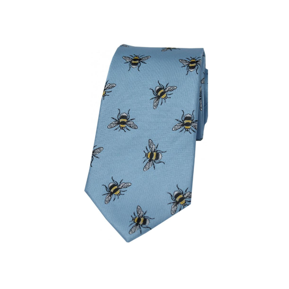 Soprano Pastel Blue Bumble Bee Luxury Silk Tie