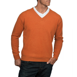 Pure Lambswool Vee Neck Jumper - Burnt Orange