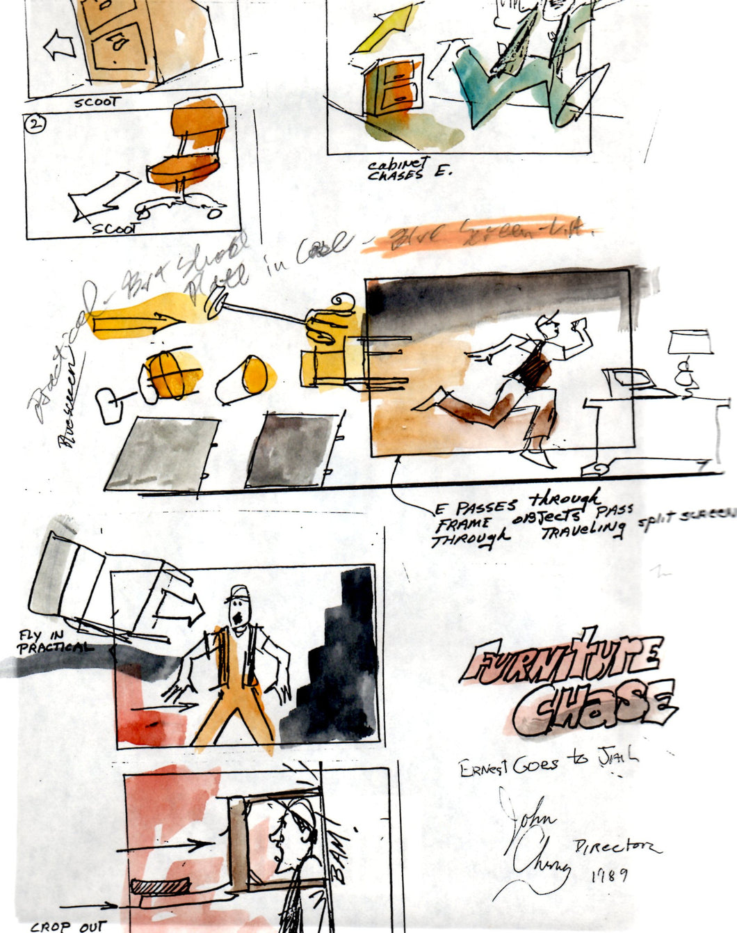 Opening Sequence, Magnetic Ernest: Furniture Chase - Ernest Goes to Jail Storyboard - SBJ026