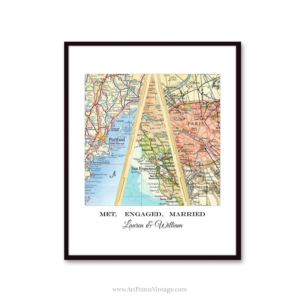 Unique map gift for husband, wedding gift for couples