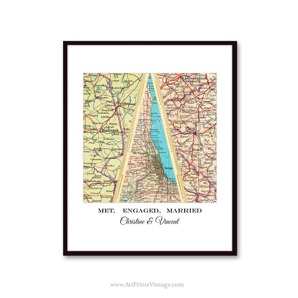Unique wedding gift idea with map art
