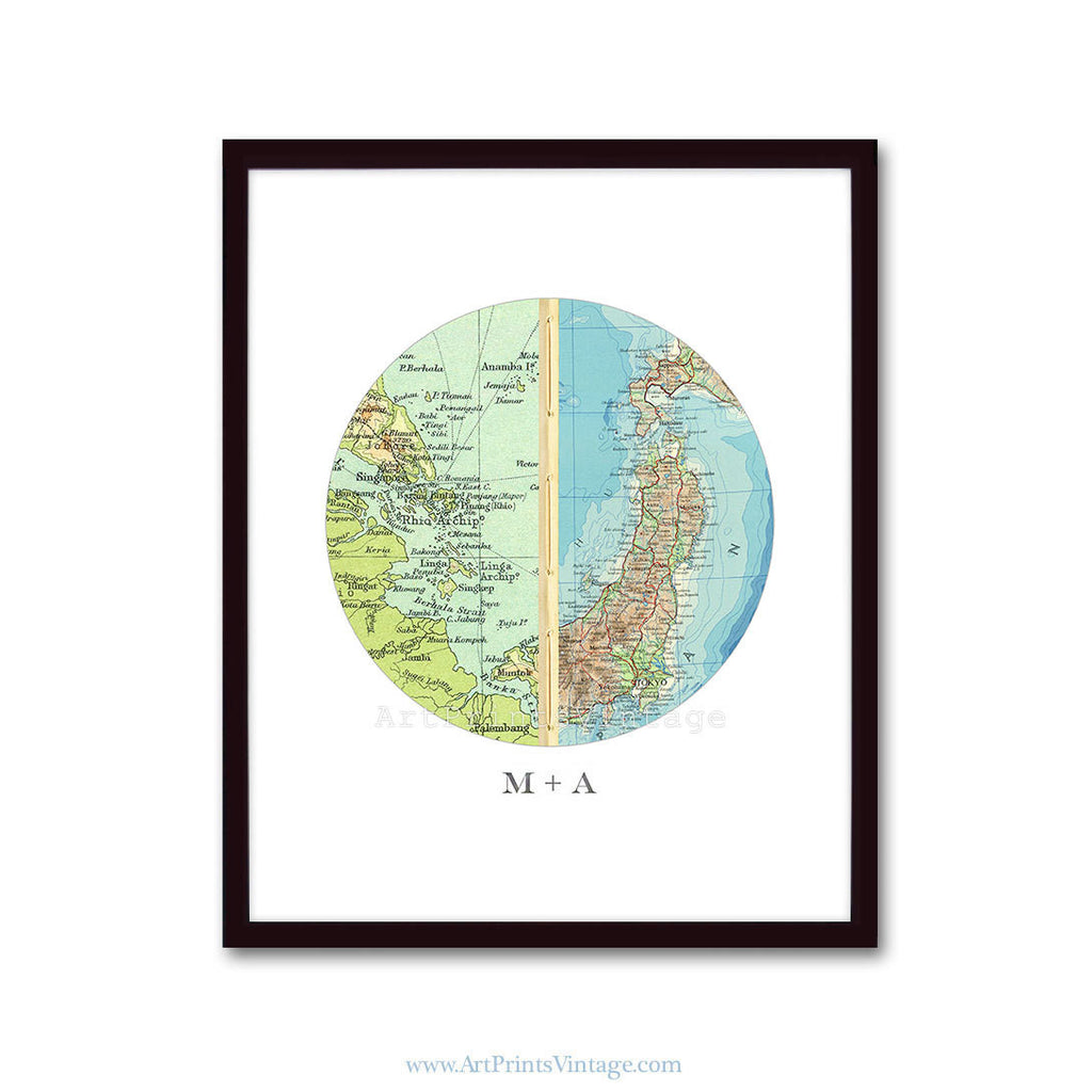 Personalized map wedding gift