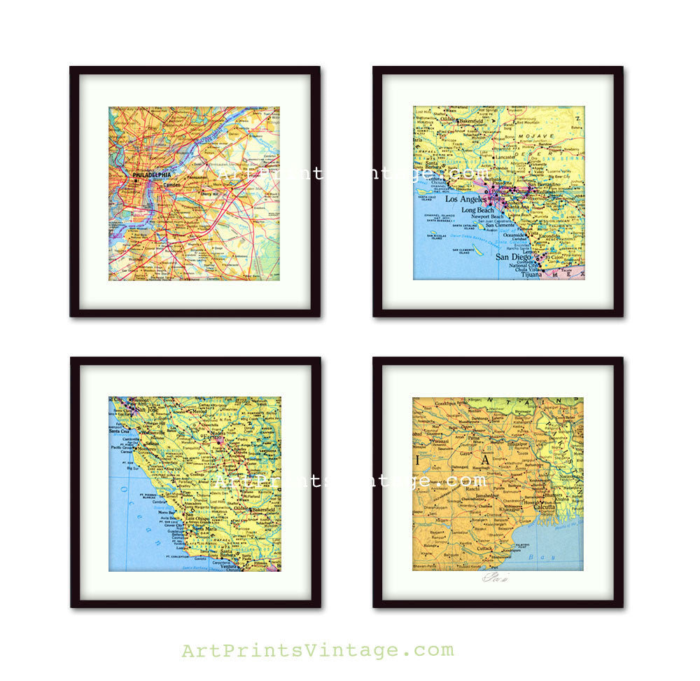 Custom map art set of 4, personalized anniversary gift idea