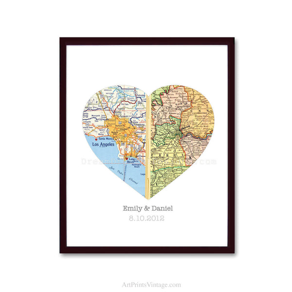 Long distance relationship gift idea heart map art print personalized gift for couples gumiabroncs Image collections