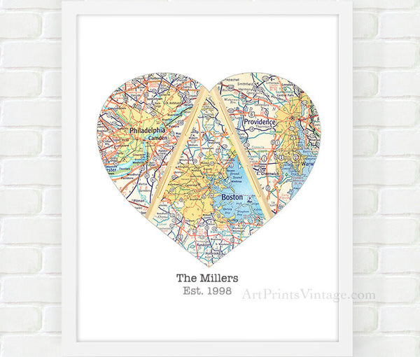 Mothers day gift with personalized map art