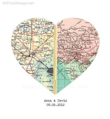 Heart map romantic gift for long distance love