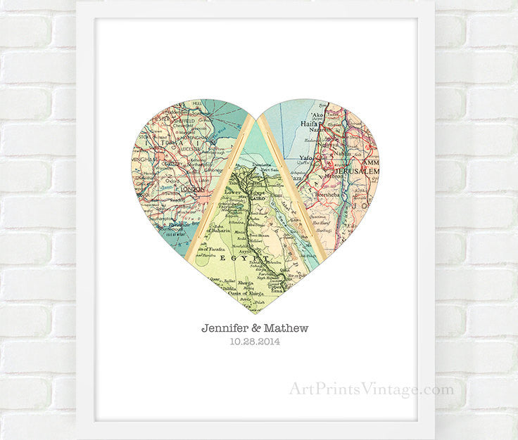 Personalized Wedding Gift For Couple Heart Map Anniversary Gifts
