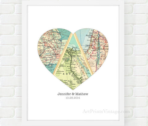 Unique birthday gift for Mom, personalized gift with map art