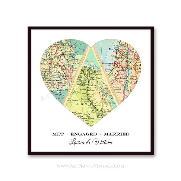 We Met We Married We Live - Custom Heart Maps, Love Story Map Wall Art, Personalized Map Art Print for Weddings or Anniversary Gifts