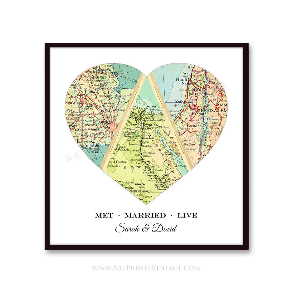 Met Married Live - Love Story Maps - Personalized Map Gift for Unique and Meaningful Anniversary or Wedding Presents