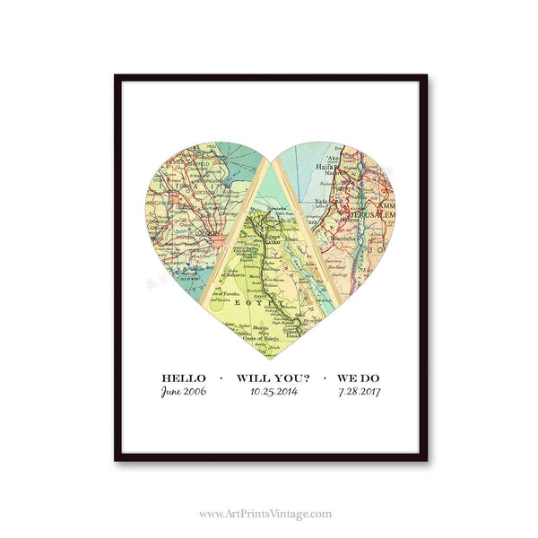Met Engaged Married Map - Personalized Heart Map Gift, Love Story Wedding or Anniversary Gift Art Print