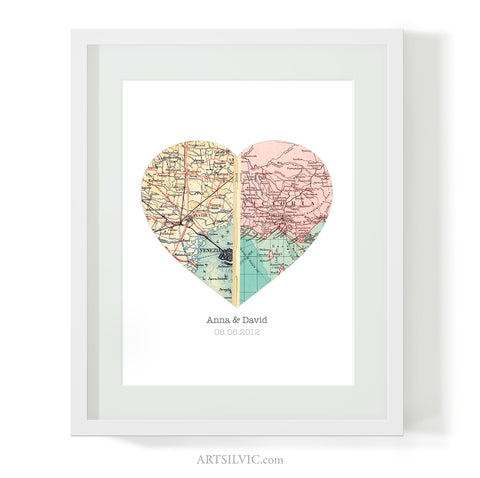 Personalized Map Heart - Custom Map Art Gift, Wedding or Anniversary Gift for Couples