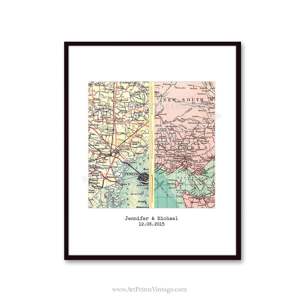 Personalized map gift for husband