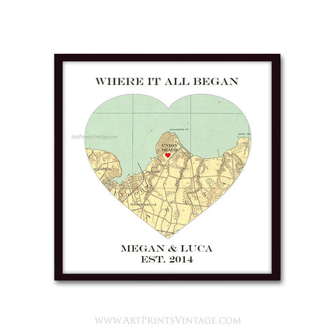 Where it All Began Heart Map, personalized map wedding gift