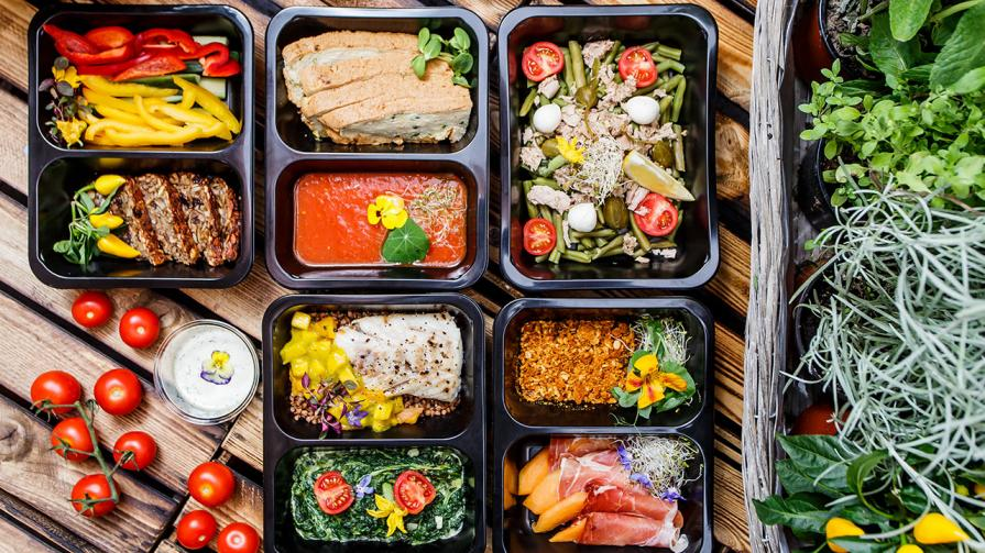 Food prepared into containers for meal plan