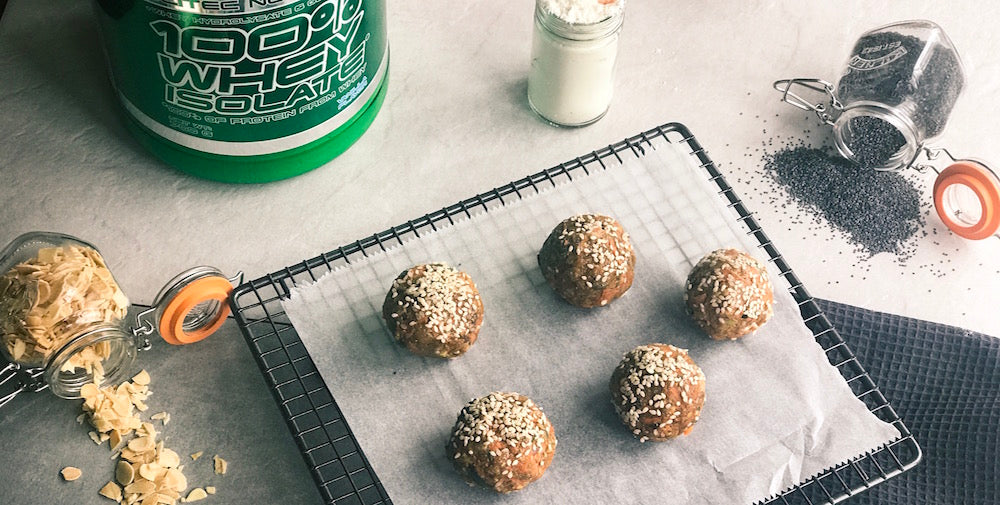 Scitec recipe for carrot cake protein balls with Scitec protein powder