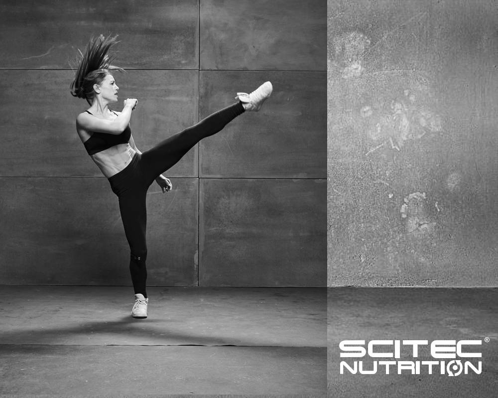 Scitec image of Fit woman doing high kick