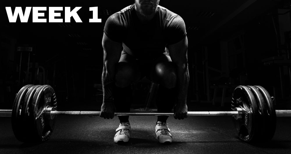 Week 1 header showing a man doing barbell deadlift in black and white