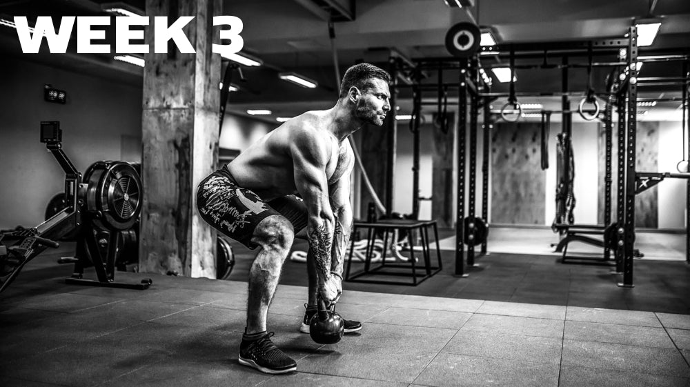 Week 3 header showing a man doing kettle bell swings in black and white
