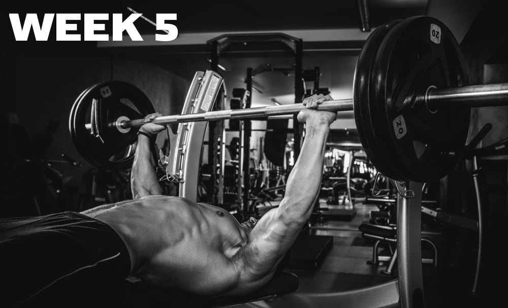 Week 5 header showing a man doing bench press in black and white