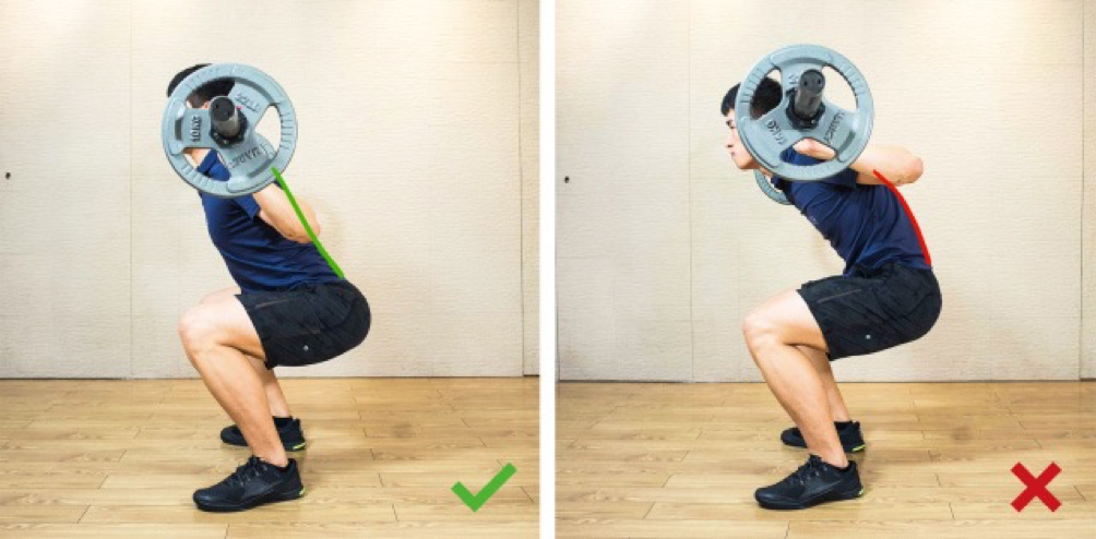 Example of good and bad back squat form