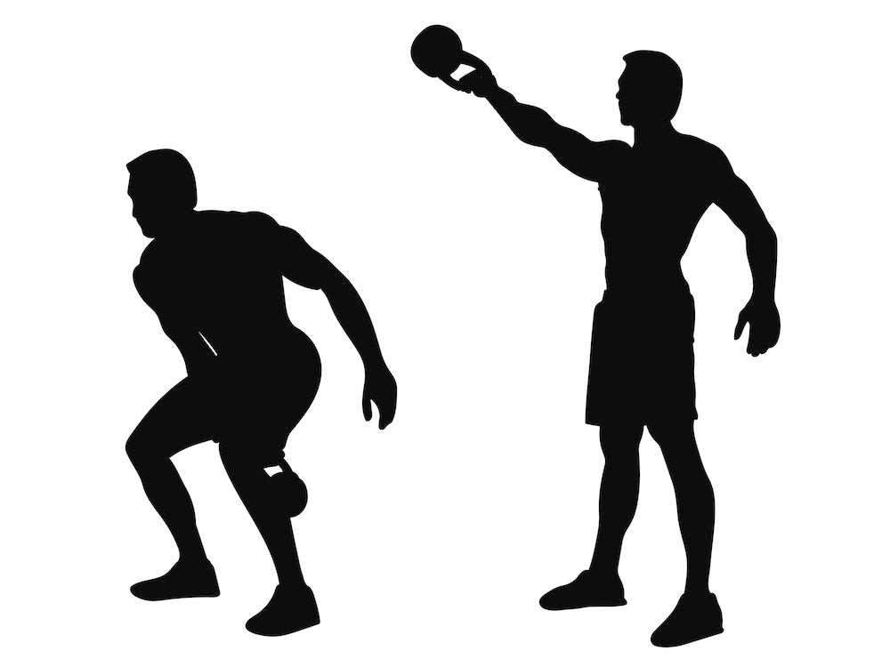 Silhouette graphic of the steps to complete a kettle bell swing