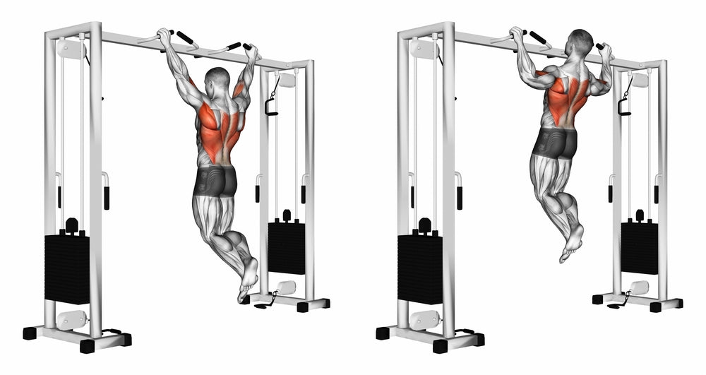 3D Illustration of man performing wide grip pull up