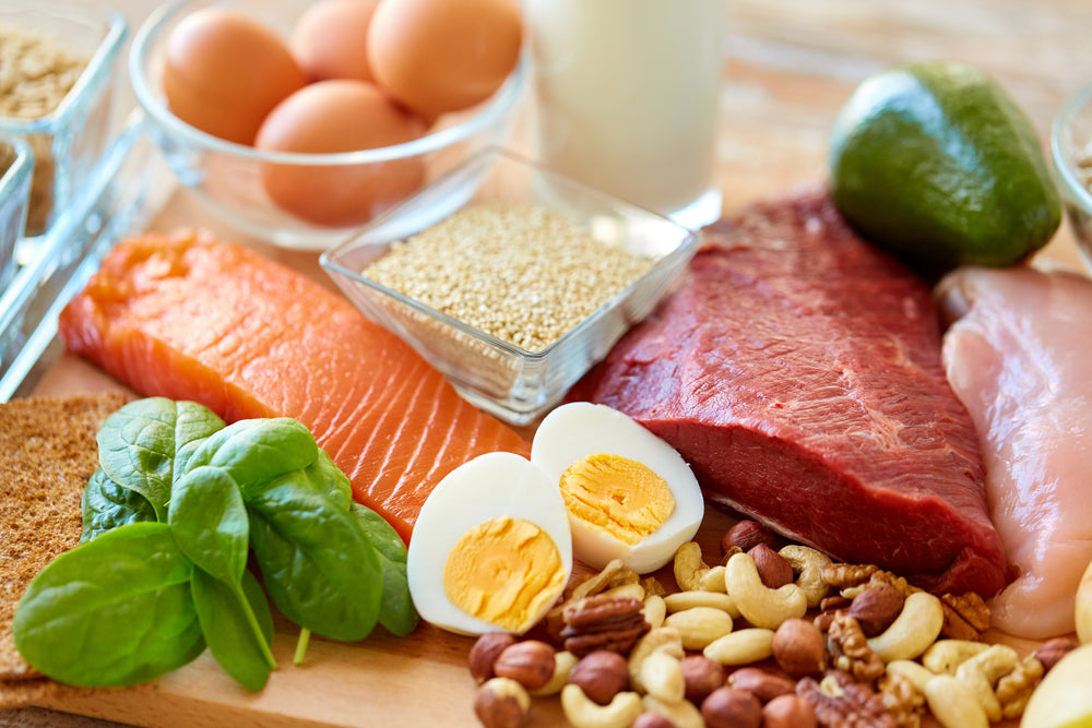 An array of food filled with protein