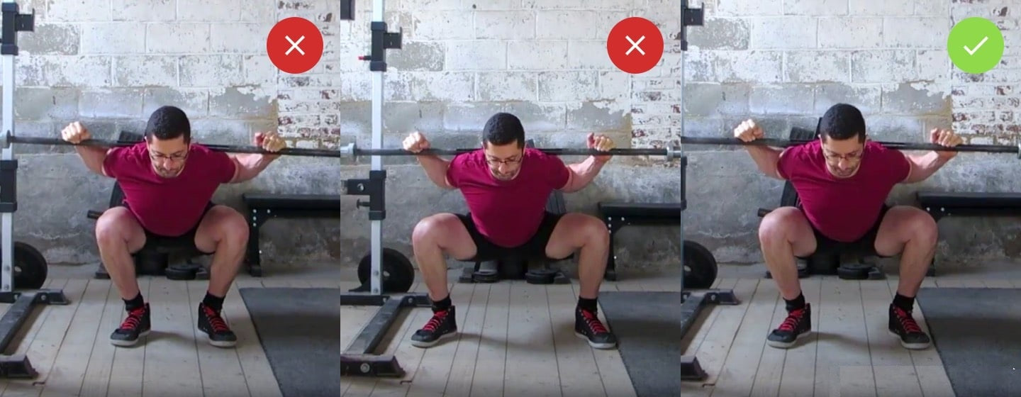 Example of good and bad squat lift forms