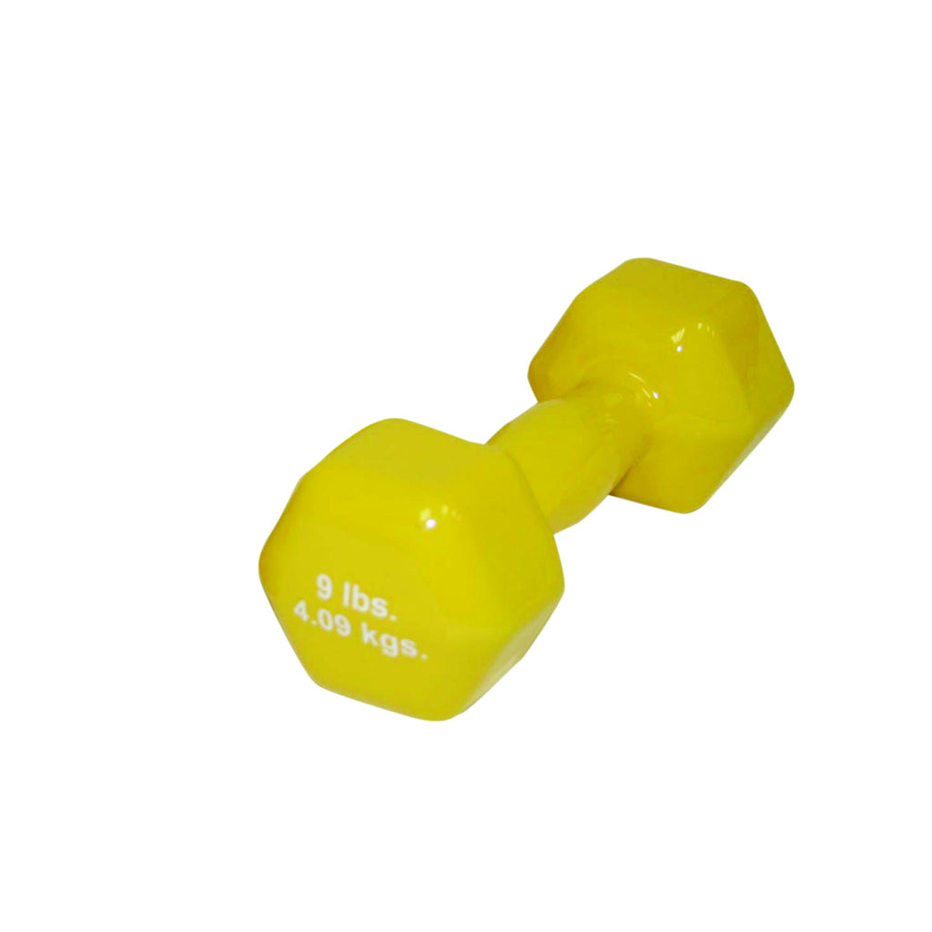CanDo® vinyl coated dumbbell - 9 lb. - Yellow, each