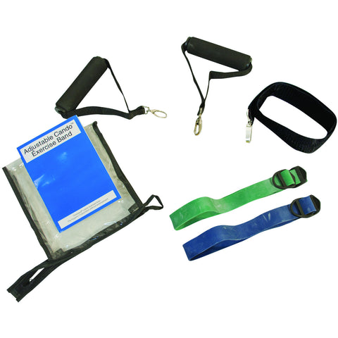CanDo® Adjustable Exercise Band Kit 2 - 2 band moderate (green, blue)