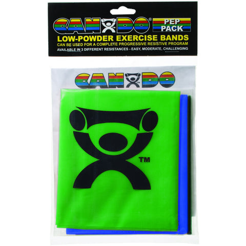 CanDo® Low Powder Exercise Band Pep™ Pack - Moderate with green, blue and black band
