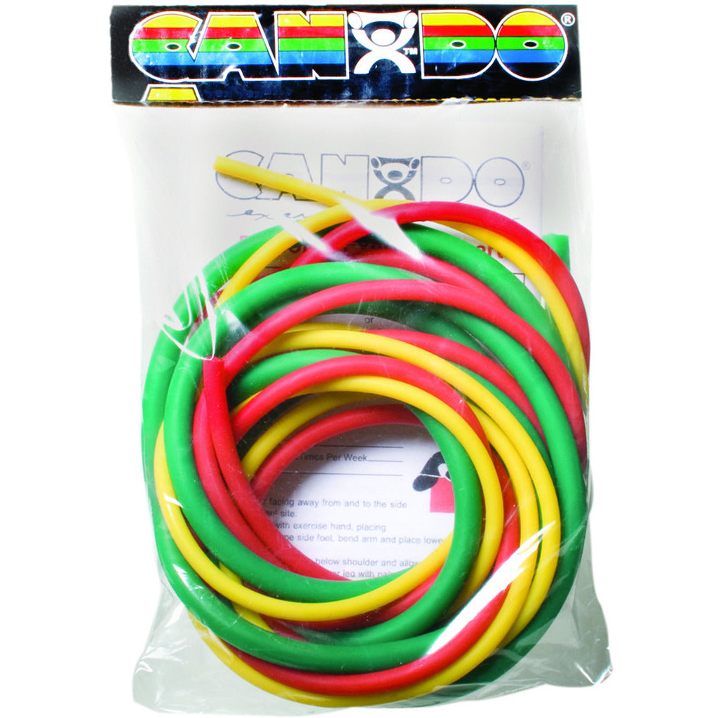 CanDo® Low Powder Exercise Tubing Pep™ Pack - Easy with Yellow, Red, and Green tubing