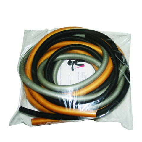 CanDo® Low Powder Exercise Tubing Pep™ Pack - Challenging with Black, Silver, and Gold tubing