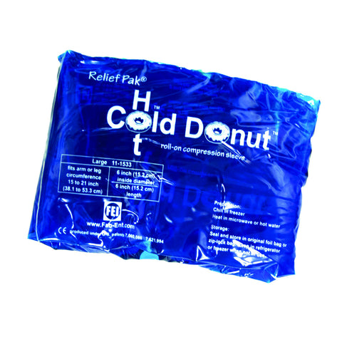 "Relief Pak® Cold n' Hot® Donut® Compression Sleeve - large (for 15"" - 21"" circumference), dozen"