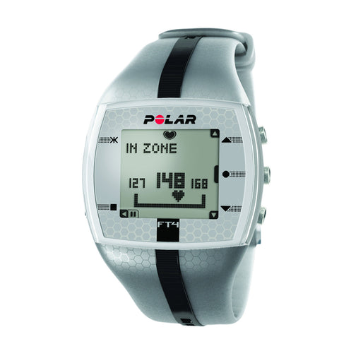 Heart Rate Monitor Watch - Polar® FT4M - Silver/Black - for Male