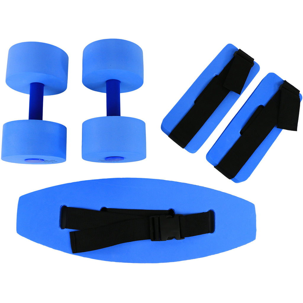 CanDo® deluxe aquatic exercise kit, (jogger belt, ankle cuffs, hand bars), small, blue