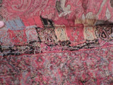 ANTIQUE 19TH C HAND SEWN PAISLEY SHAWL W COLORED BORDER 8