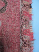 ANTIQUE 19TH C HAND SEWN PAISLEY SHAWL W COLORED BORDER 6