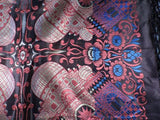 ANTIQUE NEVER USED RICH JEWEL TONE TAJ MAHAL SCARF / PIANO SHAWL W FRINGE 5