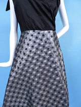 1950'S SATIN & POLKA DOT SHINING SILVER LAME PARTY DRESS W BOW SHOULDERS 2