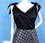1950'S SATIN & POLKA DOT SHINING SILVER LAME PARTY DRESS W BOW SHOULDERS 1