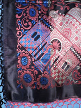 ANTIQUE NEVER USED RICH JEWEL TONE TAJ MAHAL SCARF / PIANO SHAWL W FRINGE 7
