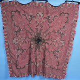 ANTIQUE 19TH C HAND SEWN PAISLEY SHAWL W COLORED BORDER