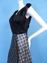 1950'S SATIN & POLKA DOT SHINING SILVER LAME PARTY DRESS W BOW SHOULDERS 5