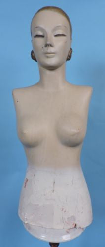 ART DECO 1920'S PLASTER FEMALE MANNEQUIN TORSO STORE DISPLAY